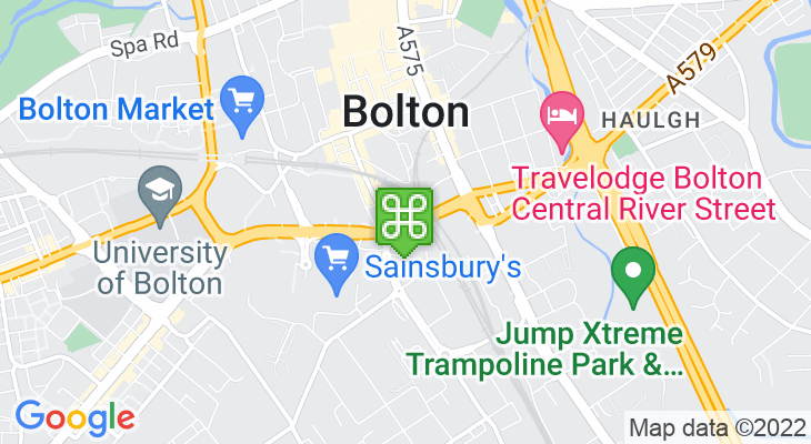 Map showing location of Bolton Train Station – Bolton Interchange