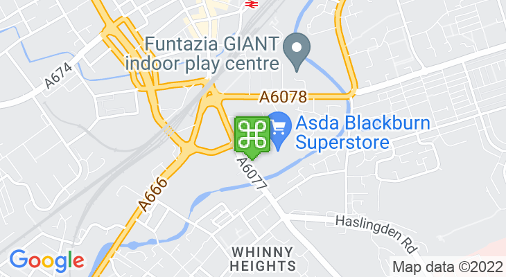Map showing location of Blackburn Retail Park