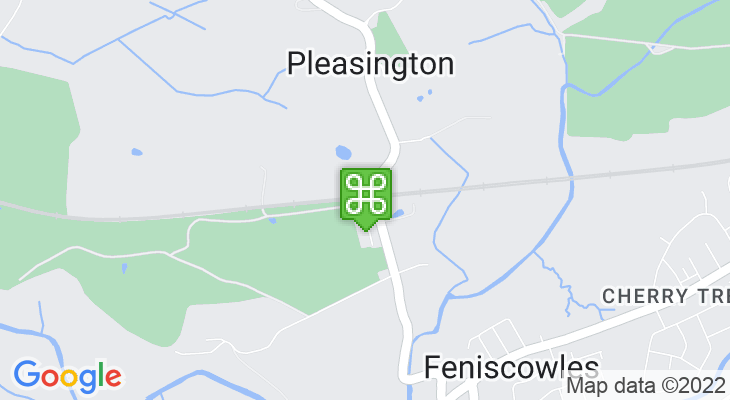 Map showing location of Pleasington Train Station