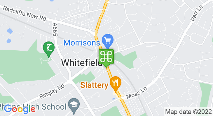 Map showing location of Whitefield Metrolink Tram Stop
