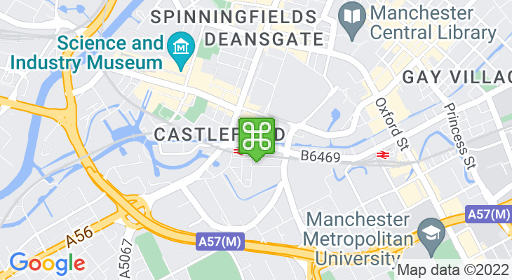 Map showing location of Deansgate-Castlefield Metrolink Station