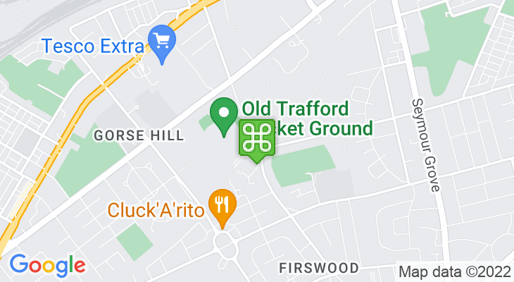 Map showing location of Old Trafford Metrolink Station