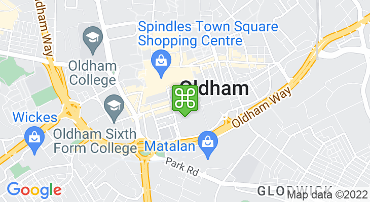 Map showing location of Oldham Central Metrolink Tram Stop