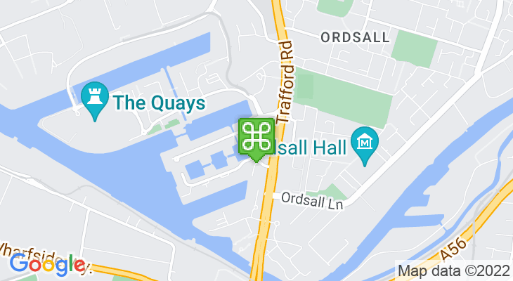 Map showing location of Salford Quays Metrolink Station
