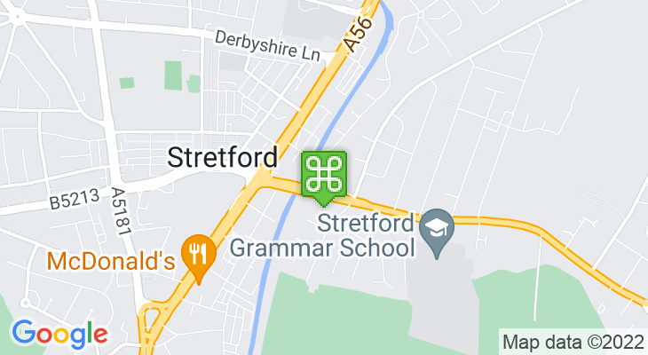 Map showing location of Stretford Metrolink Tram Stop