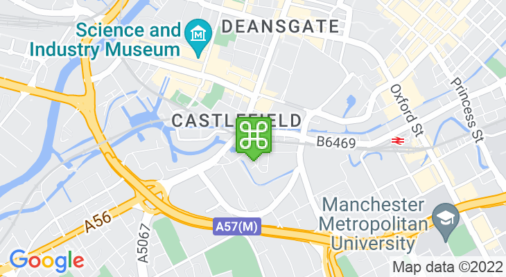 Map showing location of Deansgate Train Station