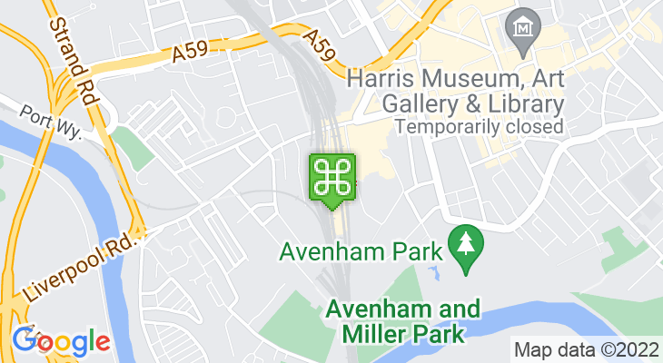 Map showing location of Preston Train Station