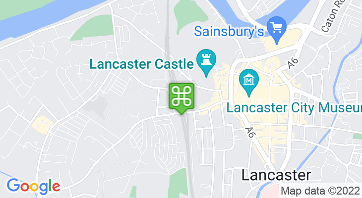 Map showing location of Lancaster Train Station
