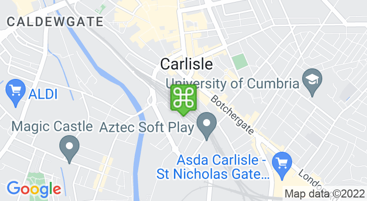 Map showing location of Carlisle Train Station