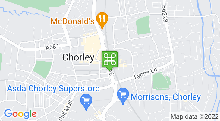 Map showing location of Chorley Train Station – Chorley Interchange