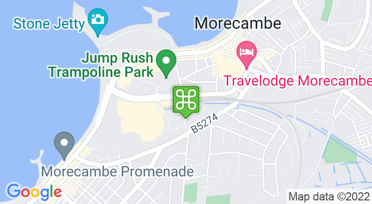 Map showing location of Morecambe Train Station