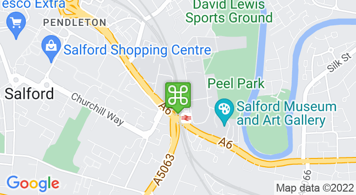 Map showing location of Salford Crescent Train Station