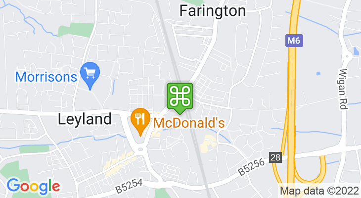 Map showing location of Leyland Train Station