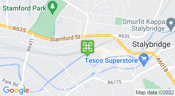 Map showing location of Stalybridge Train Station