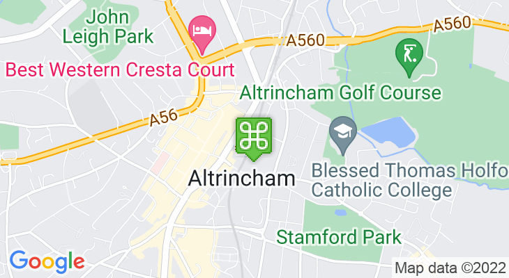 Map showing location of Altrincham Train Station – Altrincham Interchange