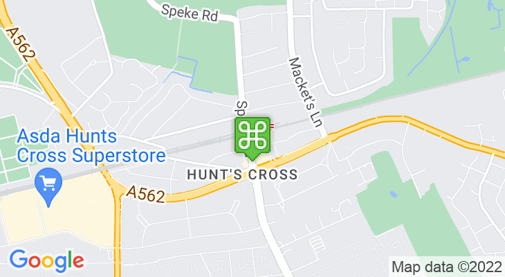 Map showing location of Hunts Cross Train Station