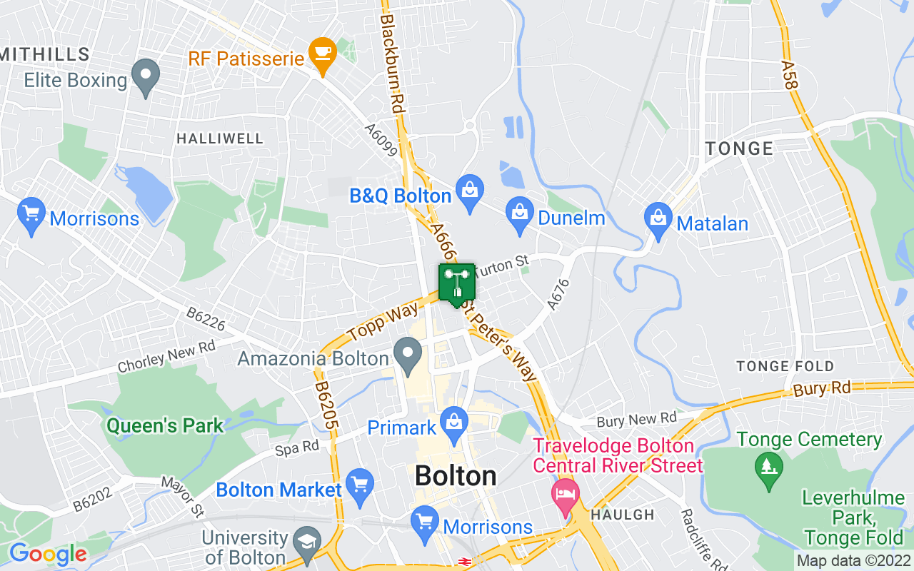 Map showing location of Met Office weather station in Bolton