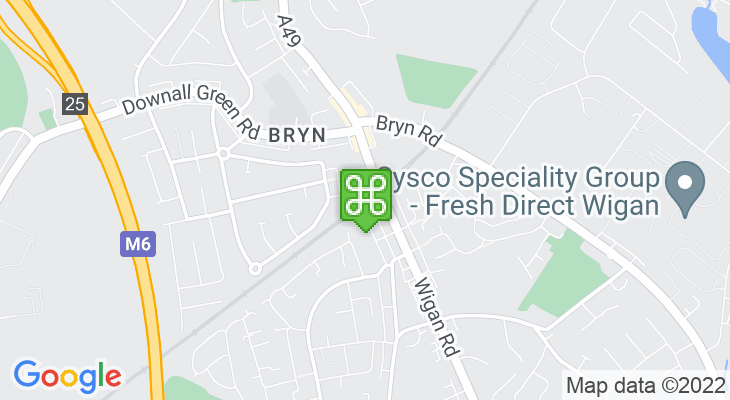 Map showing location of Bryn Train Station