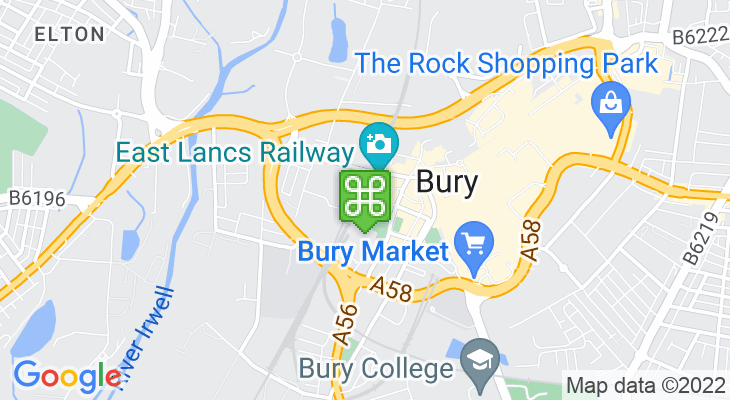 Map showing location of Bury Bolton Street Train Station