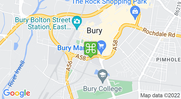 Map showing location of Bury Bus Station – Bury Interchange