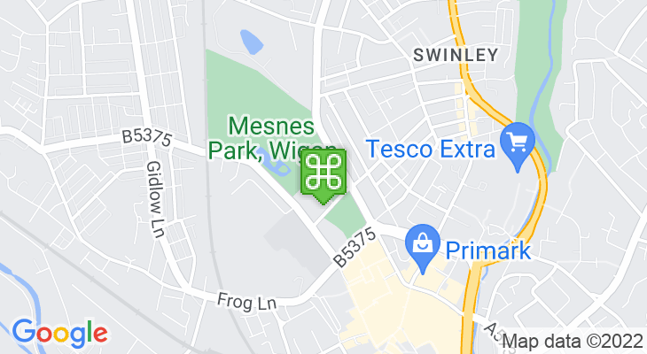 Map showing location of Mesnes Park