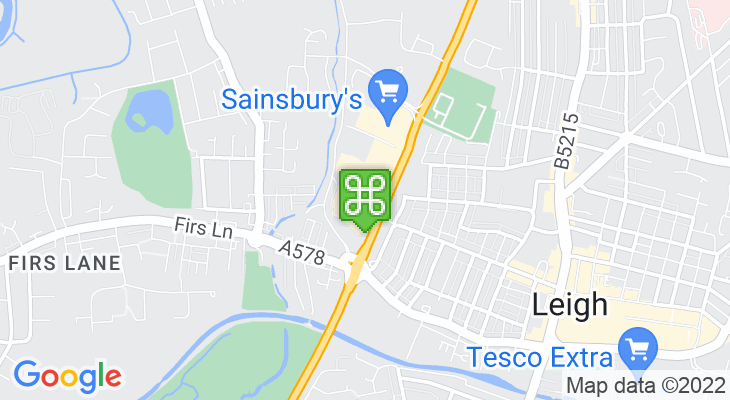 Map showing location of Parsonage Retail Park