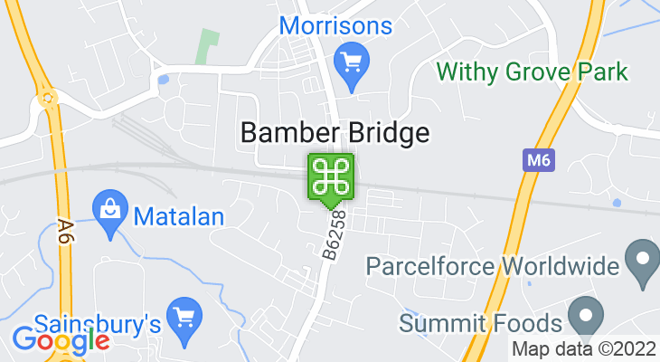Map showing location of Bamber Bridge Train Station