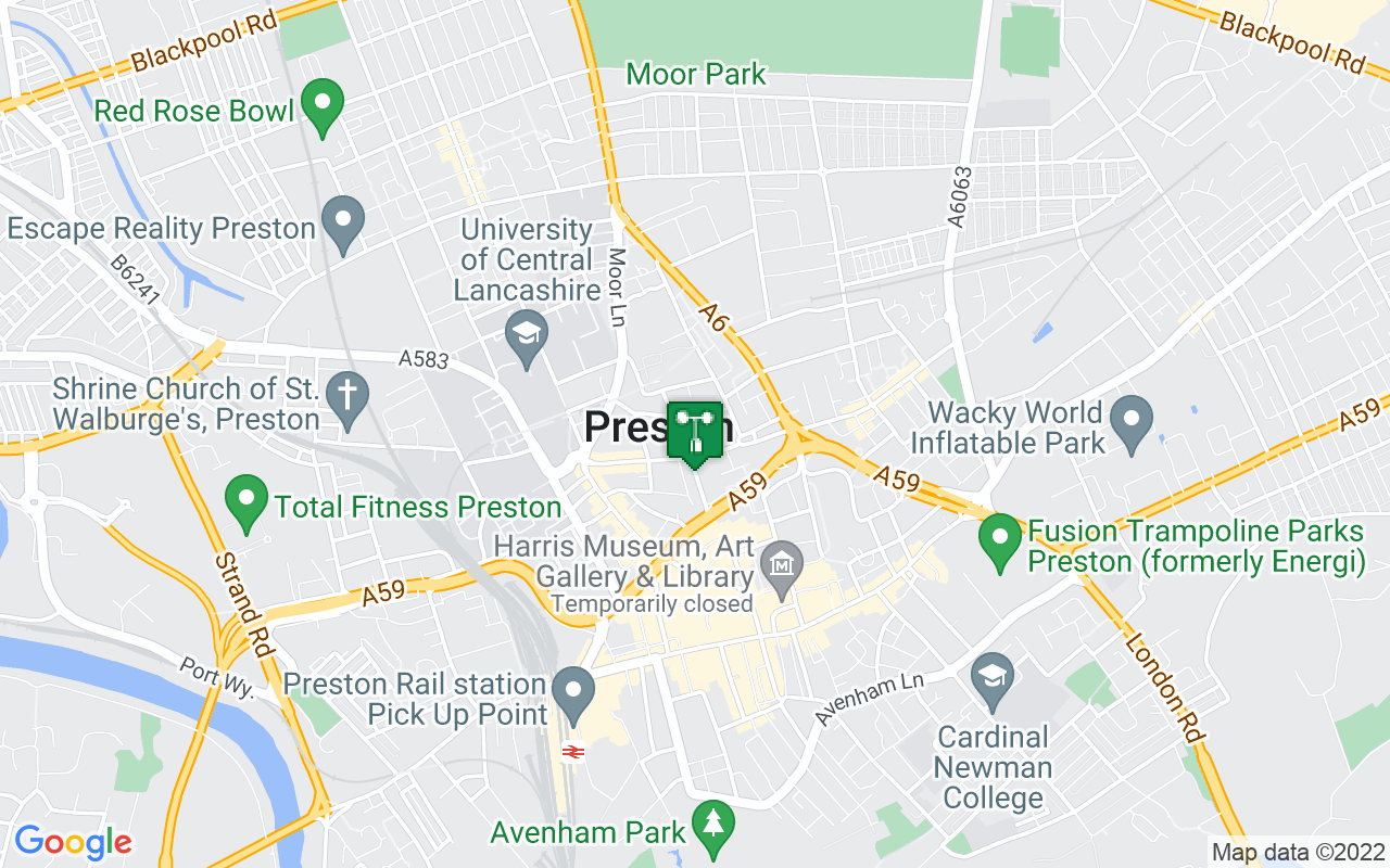 Map showing location of Met Office weather station in Preston