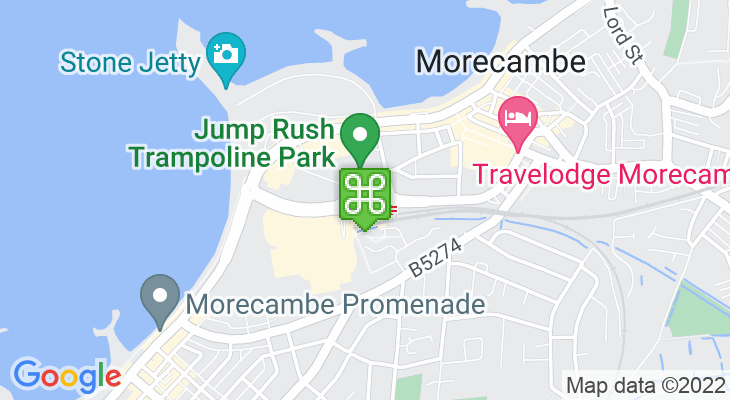 Map showing location of Morecambe Bus Station
