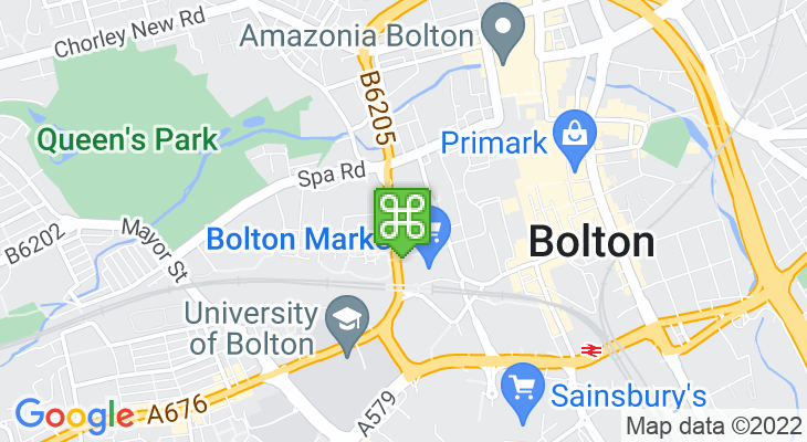 Map showing location of Bolton Bus Station