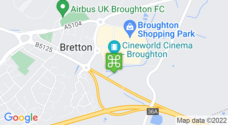 Map showing location of Cineworld Broughton