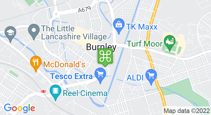 Map showing location of Burnley Bus Station