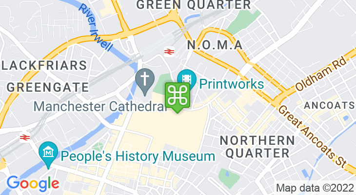 Map showing location of Vue Manchester Printworks
