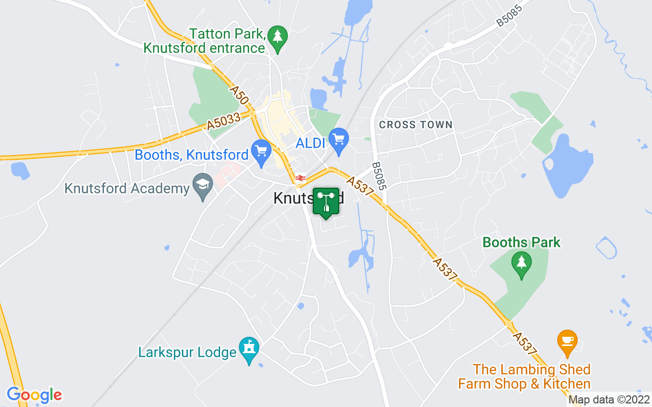 Map showing location of Met Office weather station in Knutsford