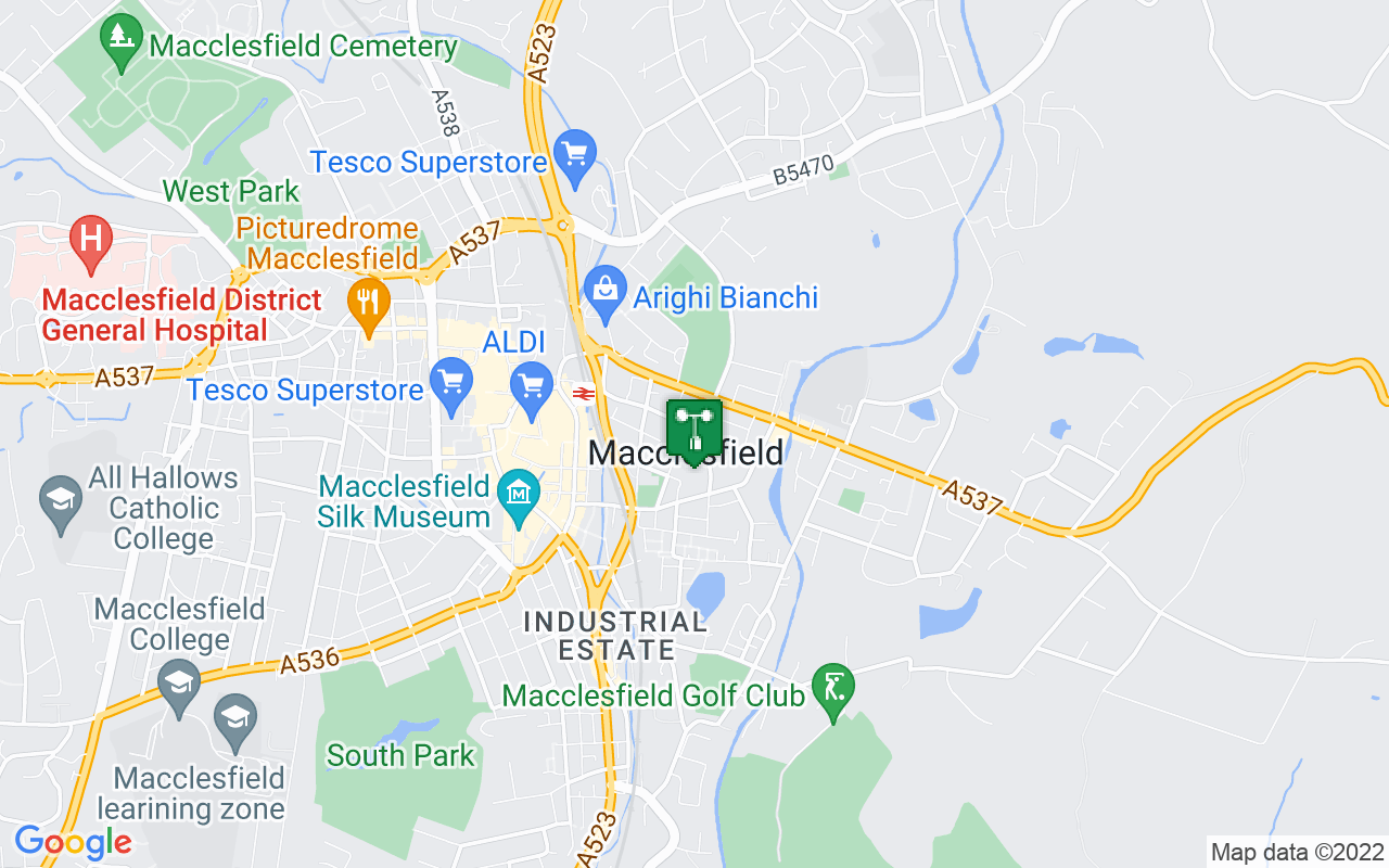 Map showing location of Met Office weather station in Macclesfield