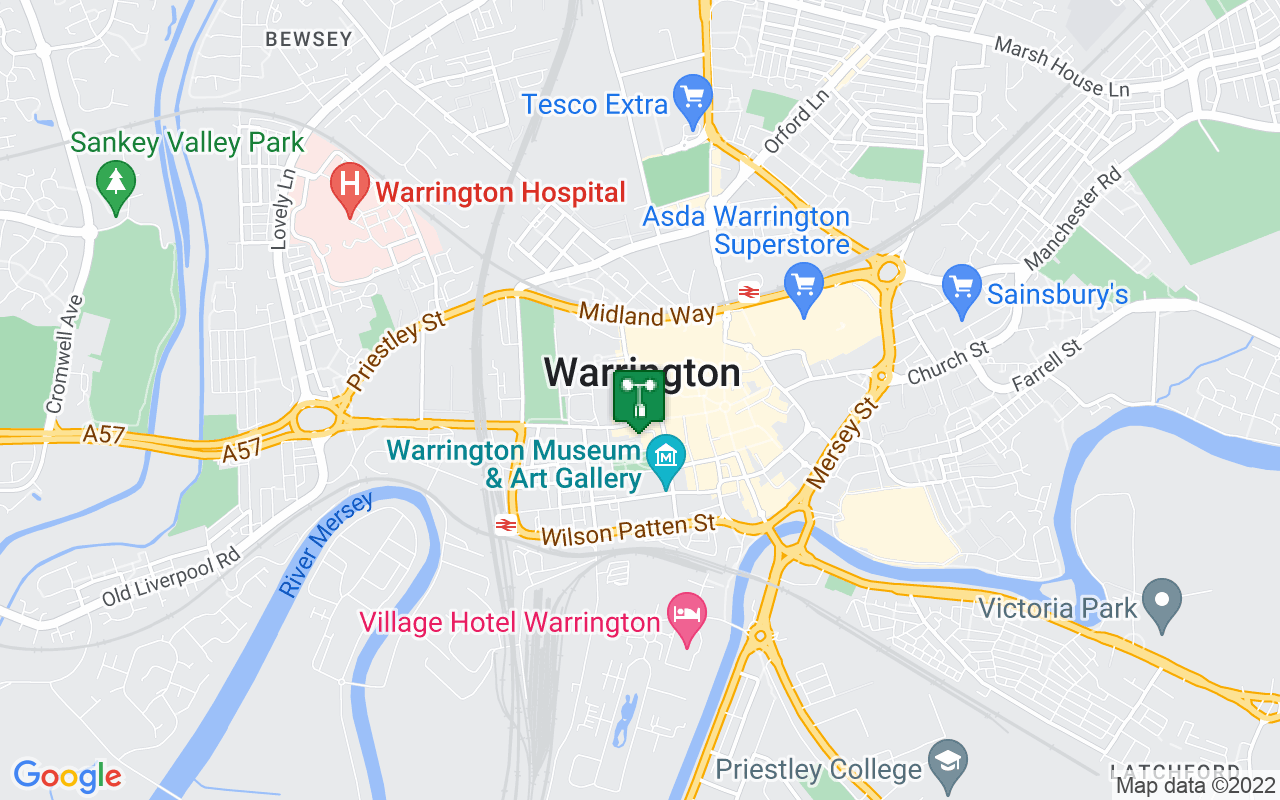 Map showing location of Met Office weather station in Warrington