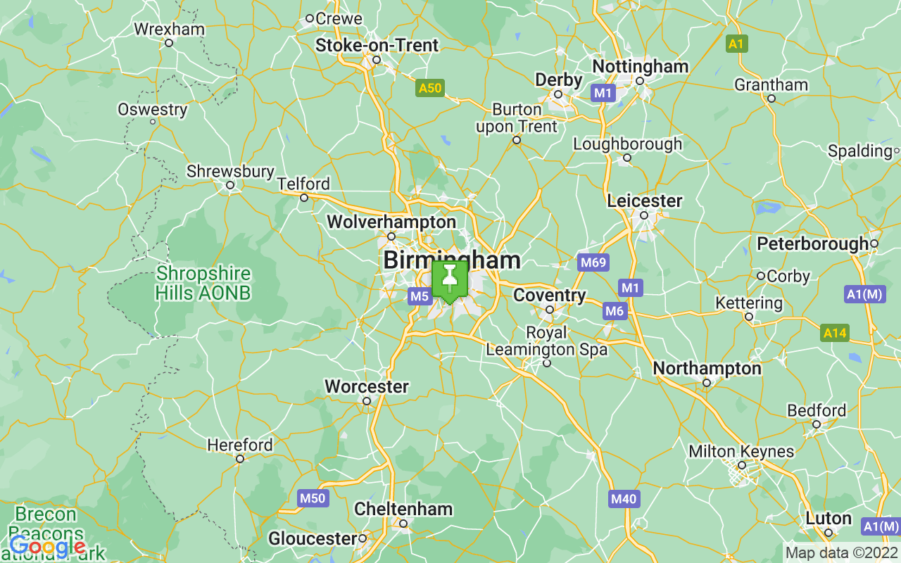 Map showing location of Birmingham