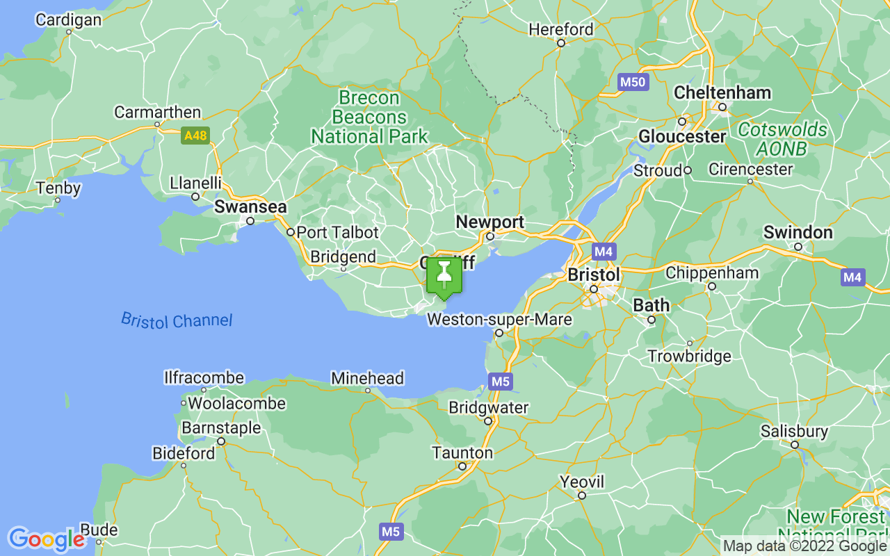 Map showing location of Cardiff