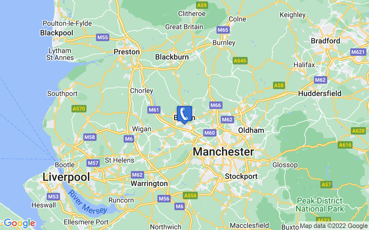 Map showing location of Bolton