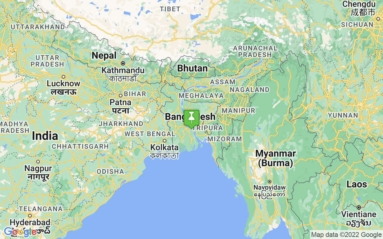Map showing location of Bangladesh