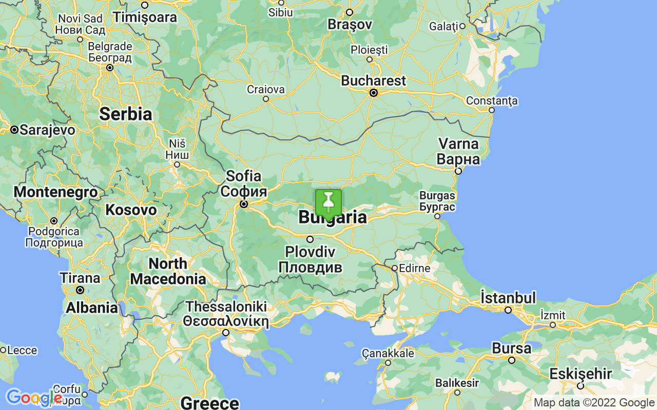 Map showing location of Bulgaria