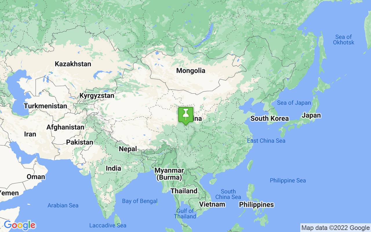 Map showing location of China