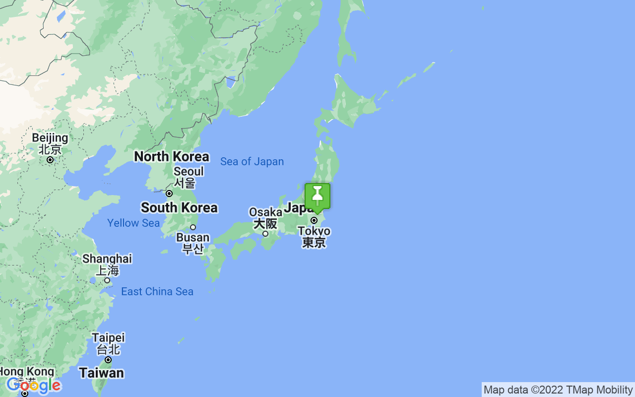Map showing location of Japan
