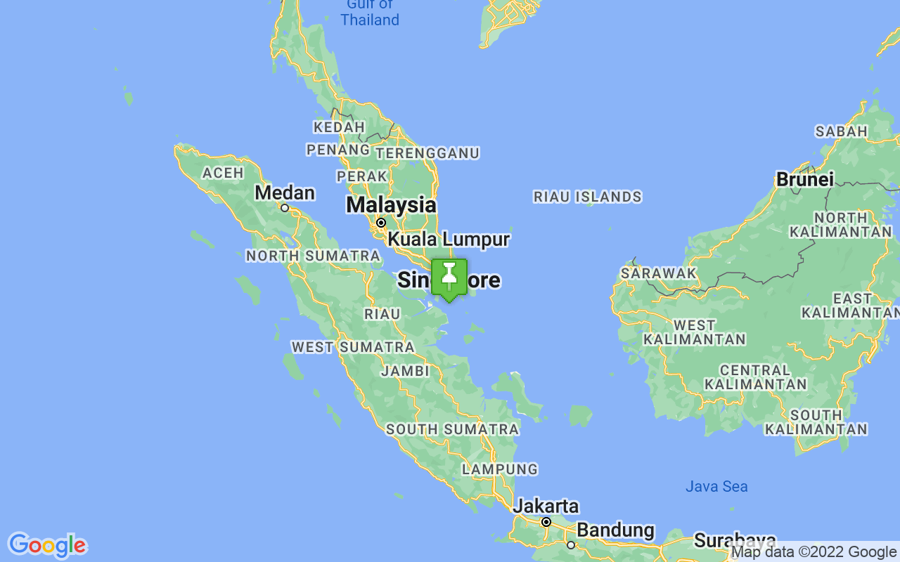 Map showing location of Singapore