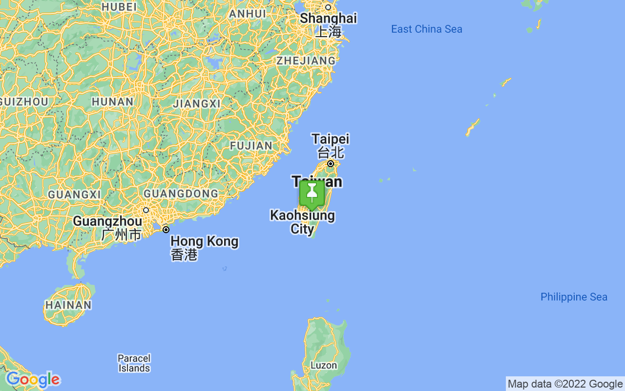 Map showing location of Taiwan