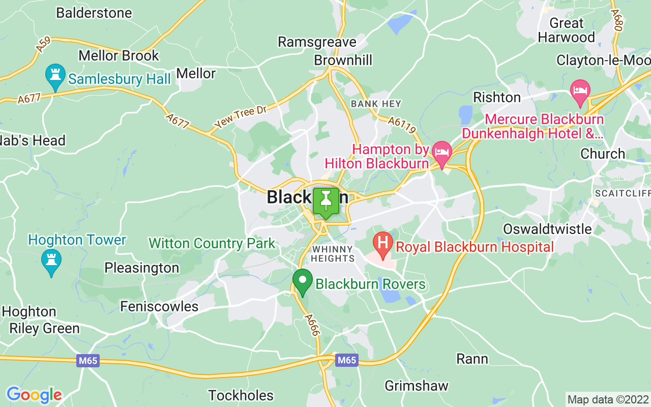 Map showing location of where Blackburn prayer times calculated