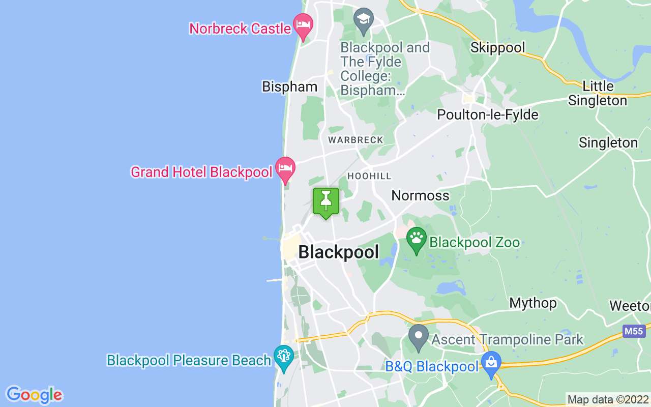 Map showing location of where Blackpool prayer times calculated