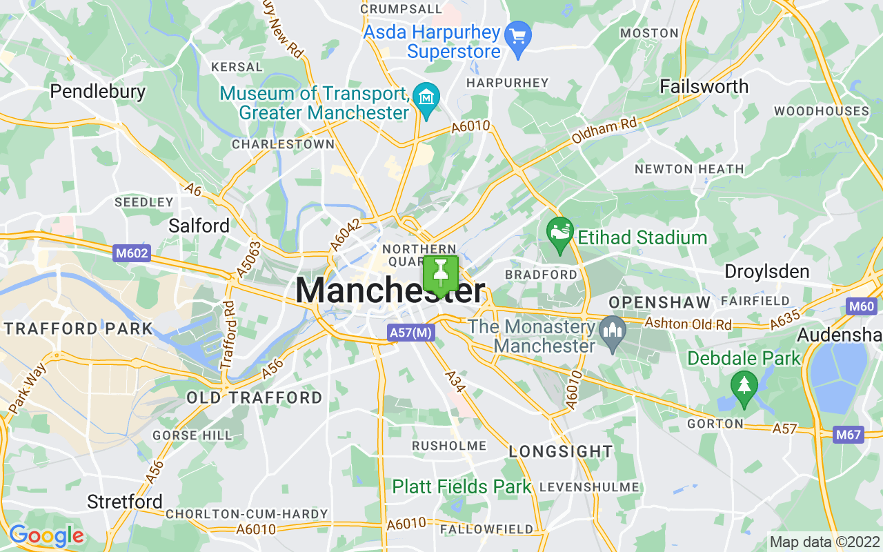 Map showing location of where Manchester prayer times calculated