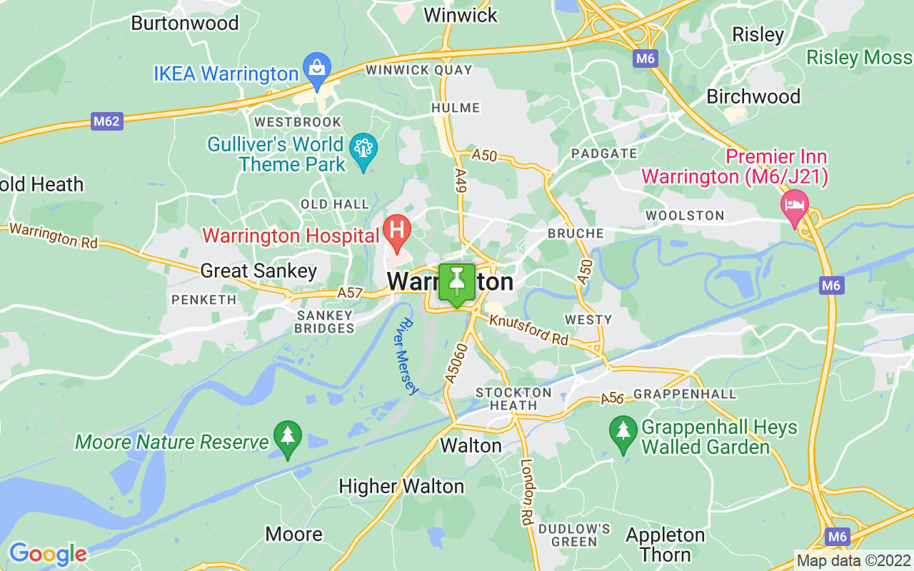 Map showing location of where Warrington prayer times calculated