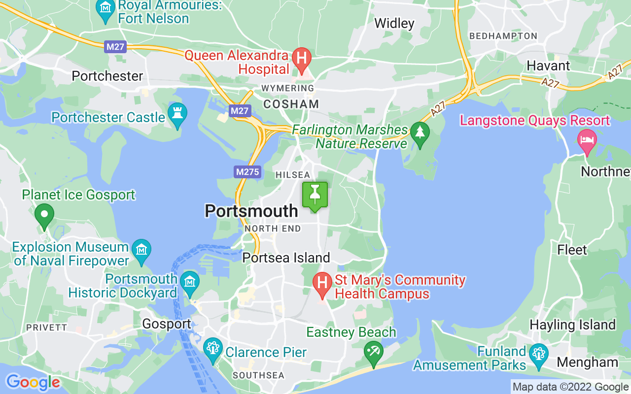 Map showing location of where Portsmouth prayer times calculated